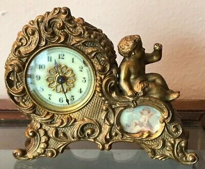 Antique 1891 Waterbury Gold Cherub & Hand Painted Porcelain Mantle Clock Works