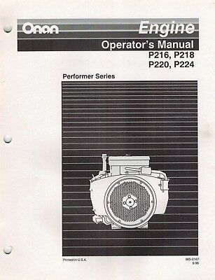 Onan  P216 P218 P220 P224 Performer Series Engine Operator's Manual