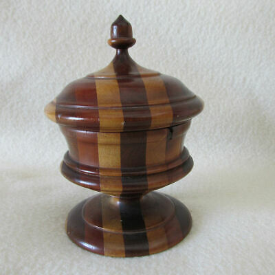 Antique Folk Art Multi Color, Treen Wood Container, Acorn Finial