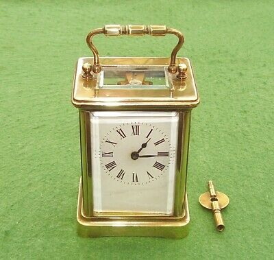 ANTIQUE CARRIAGE CLOCK BRASS FRENCH 8-DAY EDWARDIAN WORKING ORDER circa 1900
