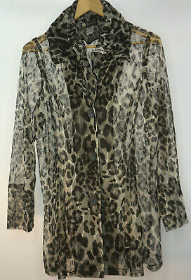 Damee , Inc. Brand Womens Size Large  button up sheer Animal print