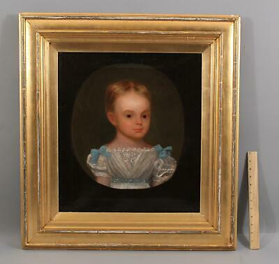 19thC Antique American Folk Art Portrait Oil Painting of Young Girl or Boy, NR
