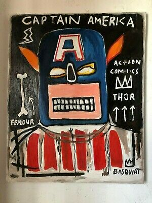 Jean-Michel Basquiat Oil Painting On Canvas Signed Sealed Framed 22.5'' X 27.7''