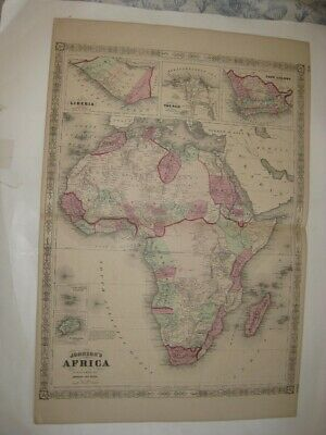 Huge Superb Antique 1866 Africa Johnson Handcolored Map Liberia Nile Cape Colony