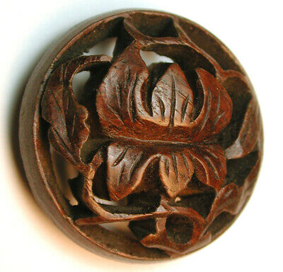 Vintage Hand Carved Wood Button Pierced flower Design - 1 & 1/2""