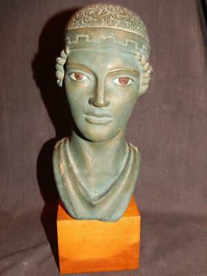 "Vintage Charioteer Of Delphi Greek Terracotta Bust Statue 11"" Tall"