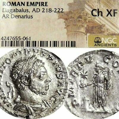 ELAGABALUS NGC Certified Choice XF Last Issue Ancient Roman Silver Denarius Coin