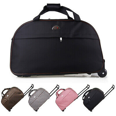 """24"""" Rolling Wheeled Tote Suitcase Carry On Duffle Trolley Bag Travel Luggage"""