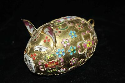 Chinese Antique Cloisonne hand-made wealth lucky pig Home decoration x276