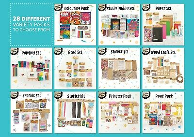 Kids Variety Arts & Craft Variety Packs DIY School Holiday - 28 Different Packs