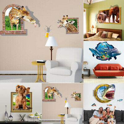 3D Ocean Animals Break Wallpaper Sticker Vinyl Mural Decor Room DIY Art Decor 1X