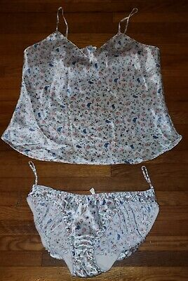 Vtg Satin Second Skin Hi Cut Bikini Panties Cami Set Floral Sz 6/M