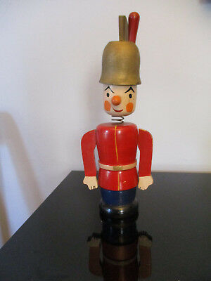 Vintage Retro Toy Soldier Nodder Bank Carved Wood Painted Wood Statue Christmas