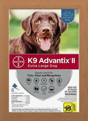 Bayer K9 Advantix II for Extra Large Dogs Over 55 lbs - 6 Pack - Brand NEW