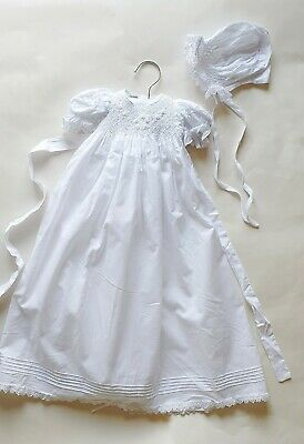 Newborn baby girl Christening Gown And Bonnet