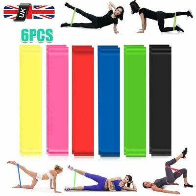 New Latex Resistance Band Heavy Duty Hip Circle Booty Bands Gym Fitness Set of 6