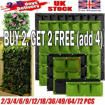 2~72Pocket Wall Hanging Planting Bag Vertical Flower Grow Pouch Planter Garden