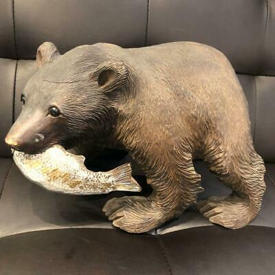 JAPAN interior decor bear figurine wood carving objects