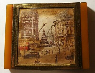 Vintage Cigarette box (no tin) bakelite, Piccadilly Schweppes advertising 1930