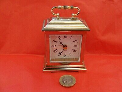 Brass Carriage Style Quartz Alarm Clock, small & neat in working order