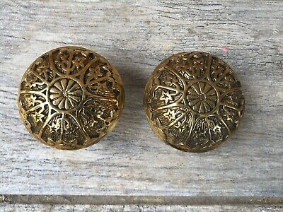 Pair Antique Eastlake Victorian Style Cast Brass Door knobs