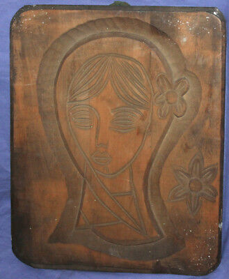 Vintage hand carved wood wall hanging plaque girl