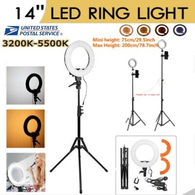 14'' 2M LED SMD Ring Light Kit with Stand Dimmable 5500K for Makeup Phone Camera