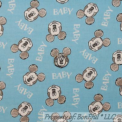BonEful Fabric Cotton Quilt White Blue Gray Baby Face Mickey Mouse Disney SCRAP