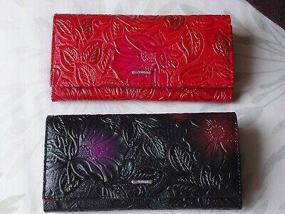 Gorgeous Real Leather Embossed Purse - Large - Red - NEW