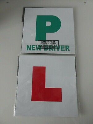 Magnetic L Plates X 2 & Magnetic P Plates X 2 Learner/New Driver New In Packs