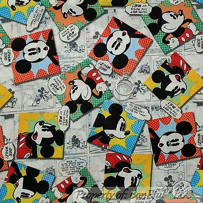 BonEful Fabric Cotton Quilt Disney Mickey Mouse Comic B&W Red White Dot AZ SCRAP