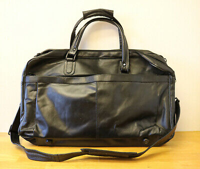 Dbrozzi Leather Messenger Bag Black Duffle Travel Laptop Briefcase Luggage Bag