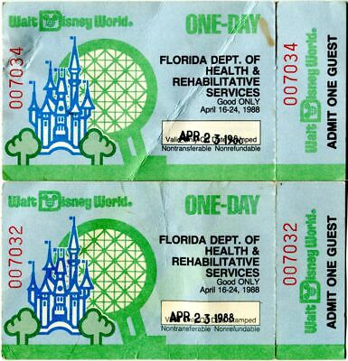 Rare Pair Of 1988 One Day Walt Disney World Tickets With Stubs Still Attached