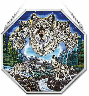 """WOLVES AMIA STAINED GLASS SUNCATCHER  15"""" x 15""""  OCTAGON PANEL   #41729"""