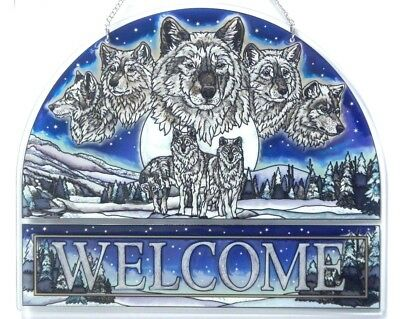 """Wolf Pack Welcome Sign 12.5"""" X 10.5"""" Amia Stained Glass Suncatcher    41737"""