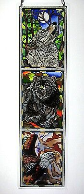"""Amia Stained Glass 4.5"""" X 16"""" Wolf Bear Eagle Window Panel  #5288"""