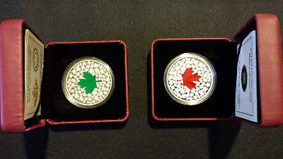 Canada Maple Leaf Impression - Proof Fine Silver Coins 2 oz. -- 1 Red & 1 Green