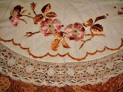 Arts & Crafts Round Tablecloth Topper Embroid Silk Dogwood Lace Edging Mission