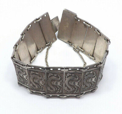 Antique Chinese Export Silver Dragons Panel Link Bracelet, 46.0g