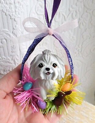 Maltese Easter Ornament Handmade WRC Resin Sculptures by Raquel