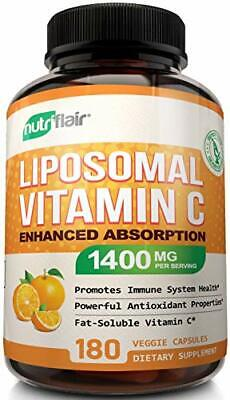 NutriFlair Liposomal Vitamin C 1400mg 180 Caps High Absorb Immune System Support