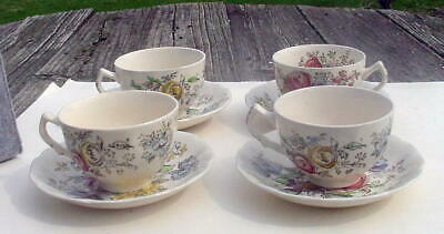 """Four Sets Of Johnson Bros Ironstone """"Sheraton""""  Cup And Saucer - Made In England"""
