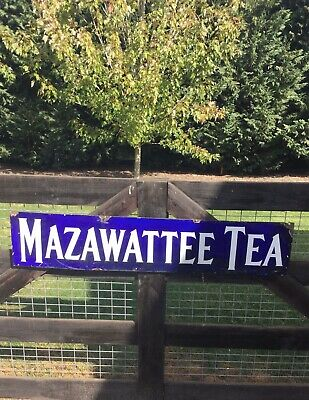 Large MAZAWATTEE TEA Enamel Sign & Book British Company Advertising FOOD Kitchen