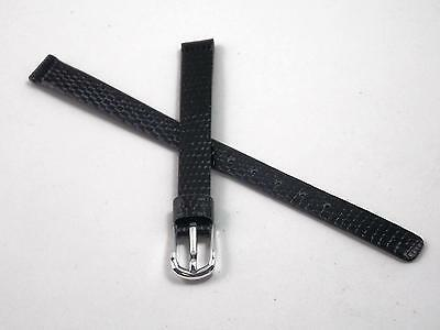 Black Lizard Grain Ladies Pulsar 8mm Vintage Watch Band Silver Tone Buckle NOS