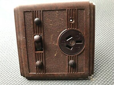 Vintage bakelite plug and switch - original - used - Brown - Art Deco backing