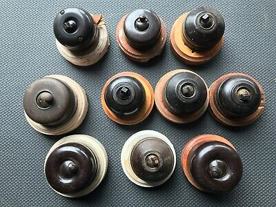 10 x Vintage bakelite switches - original - used - Brown with timber backing