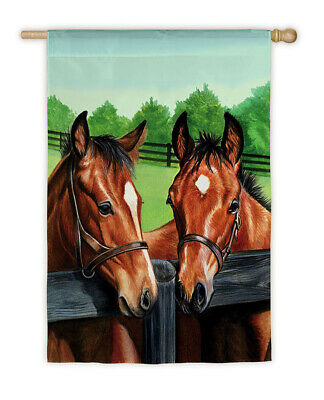 Horse Flag HORSES Looking Over Fence Full-Size Outdoor Nylon Flag