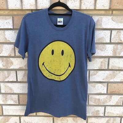 SMILEY FACE Vintage Style Blue T-shirt Size XS 70s 80s 90s