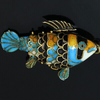 Antique Chinese Sterling Silver Fish Enamel Orange Blue Articulated Carp Koi