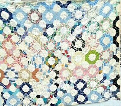 Antique Vintage 30S/40S Feedsack Folk-Art Snowball Full Moon Patchwork Quilt